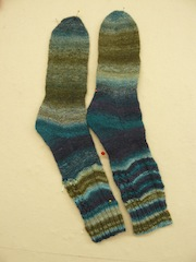 Legs knitted in normal three ply